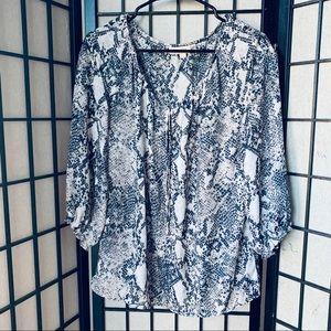 Ann Taylor Loft snake print pop over sheer blouse